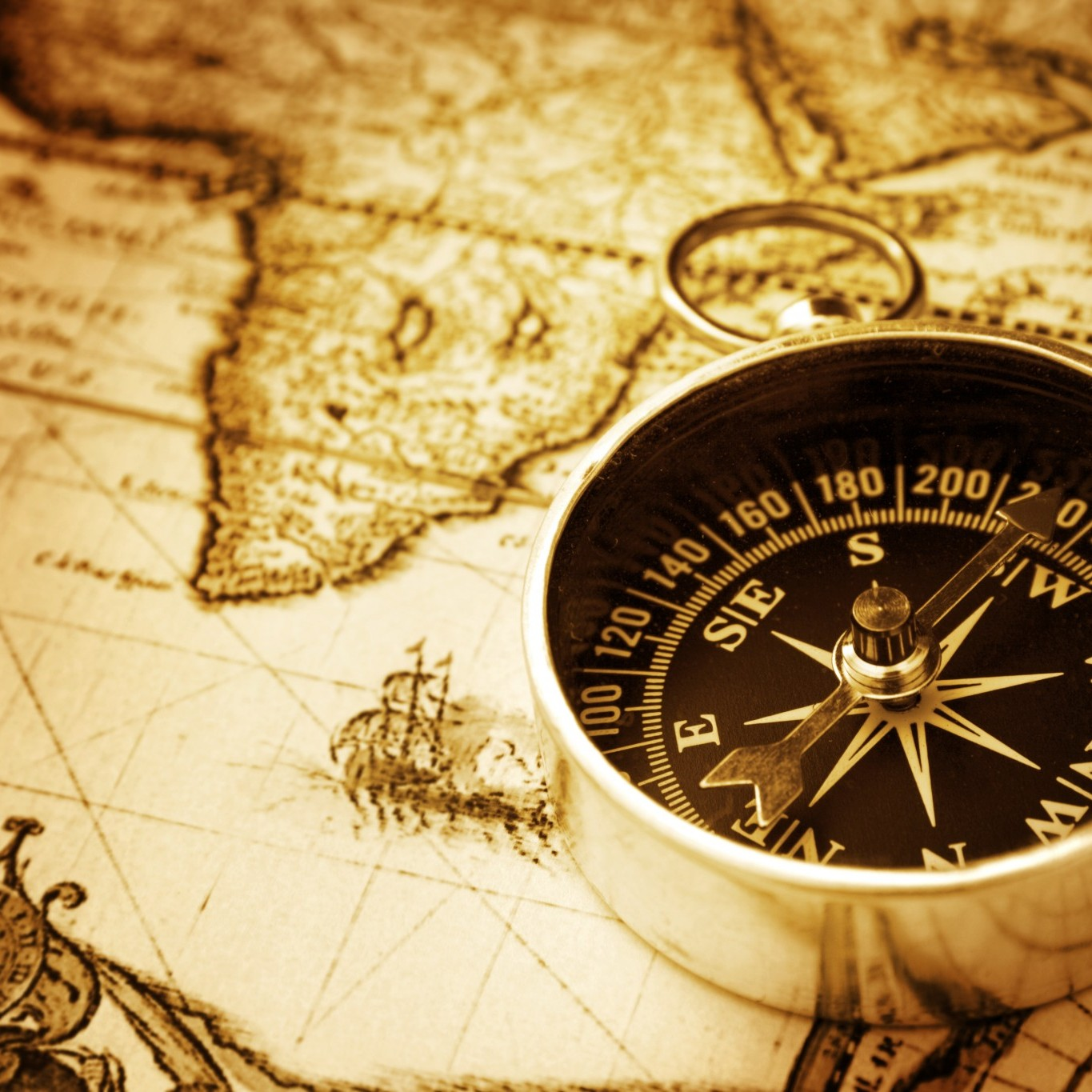 bigstock-Compass-on-old-map-12354242